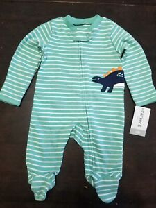 Carters Baby One-Piece Snap-Up Zip-Up Interlock Outfit Dinosaur Newborn NEW