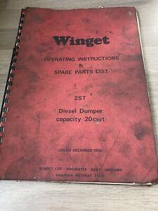 WINGET MODEL 2ST 20cwt DIESEL DUMPER OPERATING & SPARE PARTS LIST 2WD