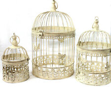 Antique Decoration Birdcage Set of 3 White 45 35 and 25 Cm Height Butterfly