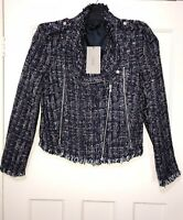 ZARA NAVY SEQUINNED TEXTURED WEAVE JACKET BLAZER WITH FRAYED SIZE S BNWT RRP£80