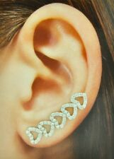 14k Solid White Gold Cubic Zirconia CZ Ear Crawler Climber Earring Heart stylish