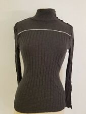 Tommy Hilfiger Ribbed Long-Sleeve Knit Turtleneck Top Sz S Gray