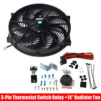 """14"""" Electric Radiator Cooling Fan 12V Black With Thermostat Control Relay Kit"""