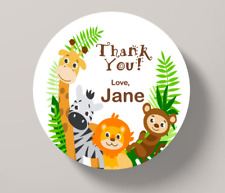 Jungle Happy Birthday Personalised Thank You Stickers Party Bag Sweet Cone