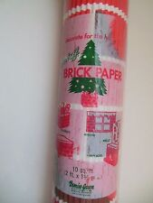 Vintage Christmas COROBUFF Red Brick Corrugated Fireplace Paper 2' X 5'