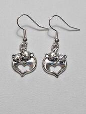 Dangle earrings - Tibetan silver style pigs / heart