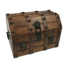 NEW - Vintage Mango & Teak Wood Pirate Loot Chest Antique Reproduction