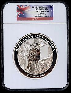 2014  Australia Kookaburra 1 Kilo NGC MS69 Graded Silver Coin Early Release