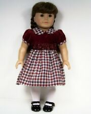 BURGUNDY Plaid Rosette Dress Doll Clothes For American Girl SPECIAL Price (Debs)