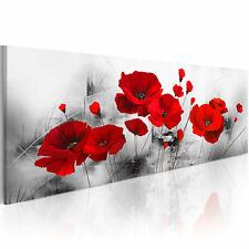 100% Handgemalt Gemälde Bilder Leinwand Mohn Blumen Rot 120x40 b-A-0339-b-a_MK