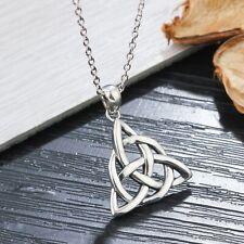 Knot Art Necklace Pendant Women 925 Sterling Silver Vintage Celtics Triquetra