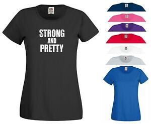 Strong and Pretty T Shirt Strongman Gym Muscle Exercise UFC Gift Women Tee Top