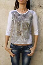 Lui Jo Donne 3/4 Maniche Lunghe Bianco CASUALS Top T shirt stretch brillavano 44 M
