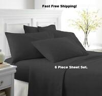 6 PIECE LUXURY 2100 COUNT HOTEL SERIES DEEP POCKET WRINKLE FREE BED SHEET SET