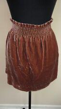 J. CREW Brown Elastic Waist Velour Casual Solid Pleated Skirt Sz 2 GG9155