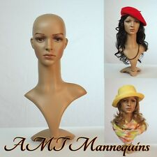 Female mannequin head+stand shown, realistic life size plastic -FD2+2 Long wigs