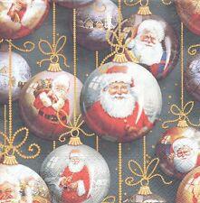 2 serviettes en papier Boules de Père Noël Paper Napkins Christmas Santa baubles