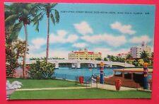 Fourty 1st St. Bridge over Indian Creek Miami Beach FL Unposted Linen Postcard