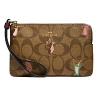 NWT COACH Corner Zip Wristlet Party Mouse Animal Print Khaki Gold Pink F87877