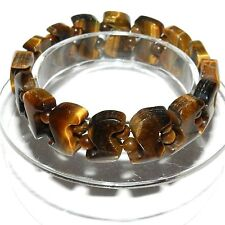"BR511 Tiger's Eye 15mm ""S"" Curve & Round Ball Gemstone Bead Stretch Bracelet 7"""