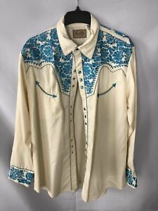 Scully Cream and Blue Embroidered Western Button-Up Shirt - Size XL Men's