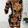 Womens Floral Bodycon Dress Crew Neck Evening Party Long Sleeve Mini Dresses