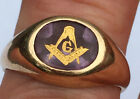 Antique sz 10 Deco 10k Gold Carved Amethyst Masonic Encrusted Ring 6.1 Grams OB for sale