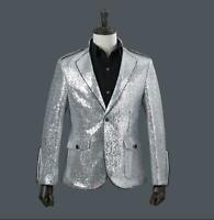 Mens Sequins Blazers Bling Bling Suit Lapel Coat Slim Fit Jacket Nightclubs