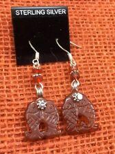 Artisan Earrings Sterling Carved carnelian Double Fish Gemstone Pierced Drop