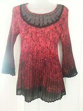 New Directiions Red Black Pleated Beaded 3/4 Sleeve Top Blouse P/Large Stretch