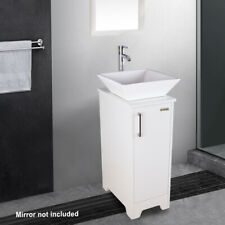 "13"" Small Bathroom Vanity Modern Cabinet Table Organizer Square Sink Set White"