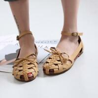 Japanese Womens Summer College Round Toe Flat Hollow Vintage Roman Sandals Zsell