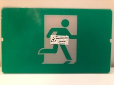 """Exit Sign Green Running Man 12"""" x 7.25"""" Flexible Plastic Insert Replacement New"""