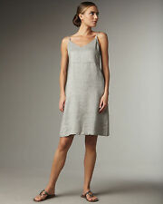 EILEEN FISHER Silver Metallic Linen Shimmer Cami Cocktail Dress 2X $248