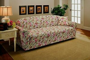 JERSEY STRETCH   PINK FLORAL SLIPCOVERS --SOFA / LOVESEAT / CHAIR / RECLINER  B
