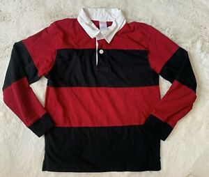 EUC Gymboree Boys Size 8 Red Black Striped Rugby Shirt 100% Cotton Fall