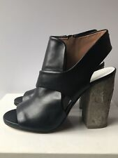 MAISON MARGIELA SS15 Black Leather Cutout Ankle Boots Heels Shoes 40/US10  NIB!