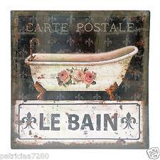 TABLEAU SUR TOILE CARTE POSTALE ROSES LYS SALLE DE BAIN PEINTURE RETRO BAIGNOIRE
