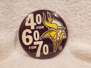 VERY RARE 1970 Minnesota Vikings 40 For 60 For 70 Button, Joe Kapp, VERY NICE!
