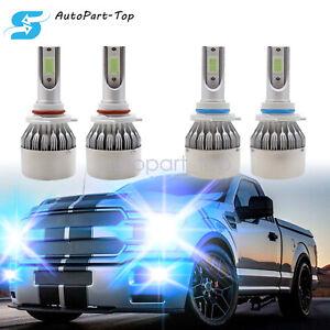 4Pcs 9005+9006 LED Headlight Bulbs Kit Hi&Low Beam 55W 8000LM 8000K Ice Blue