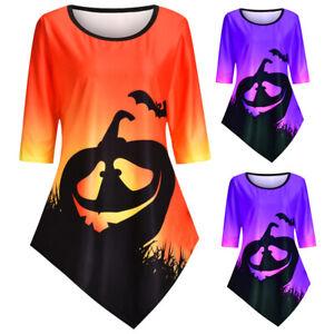 Women Halloween Printed T-Shirt Round Neck Sleeve Mid-Long  Top Ladies Irregular