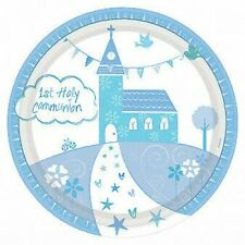 Blue Communion Church Paper Dinner Plates x 8