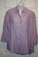 Coldwater Creek Womens Shirt Large 14-16 Womens Button Down Top Purple Stripe