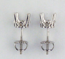 1Ct Each Antique Style Stud Earrings Mounting 14K White Gold 2Ct Total Weight