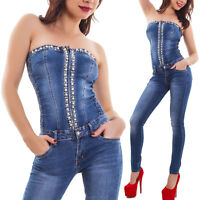 Overall jeans donna tuta intera perle pantaloni bandeau skinny aderente M5729