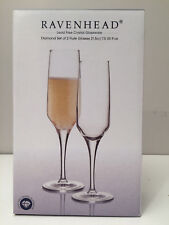 Ravenhead Diamond Champagne Flute Glasses Transparent Set of 2