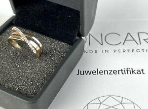 Brillant- Ring 375 Gold mit Zertifikat, 19 Brillanten Ø17,2 mm Gr.54