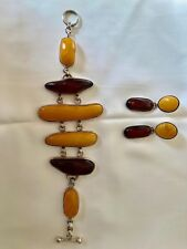HTF Butterscotch & Cherry Amber SS Bracelet & Earring Set - NEW