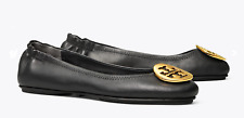Tory Burch Women's Black Leather Ballet Classic Flats Gold LOGO