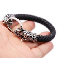 Dragon Head Black Leather Bracelet Cuff Unisex Alloy